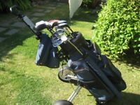 RYDER ZX PLUS GOLF CLUBS IN BAG WITH TROLLEY MENS RIGHT HAND