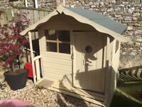 A lovely cream wooden playhouse, felt roof, carpeted, good condition. Need gone ASAP BARGIN £80
