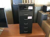 Small black metal 6 drawer filing cabinet