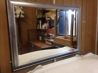 Large Silver bevel edged wall mirror