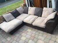Brown and beige large corner sofa