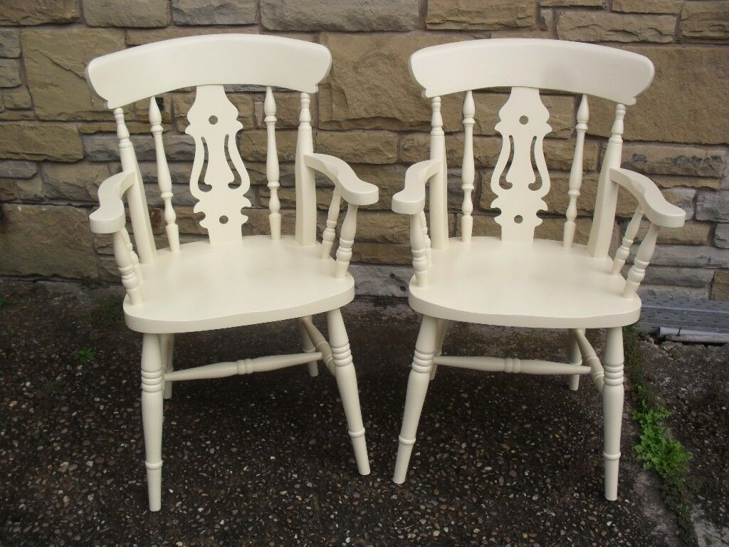 Shabby Chic Farmhouse Country Carvers In Farrow & Ball Cream No 67 (Ideal For Guests At Christmas )