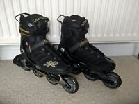 K2 alexis boa woman inline skates size 6, black/gold, like new, used couple times, in original box