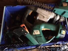 Joblot Of 7 deep trays full of power tools and batteries, chargers.