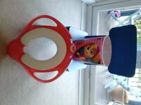 Ikea blue chair, paw patrol children´s paper bin and Soft Toilet Training Seat Adaptor with Handles