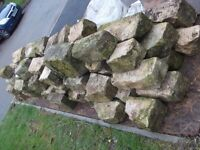 RECLAIMED SANDSTONE BLOCKS (90) LOCATED IN QUARNDON, DERBY - ASSORTED SIZES