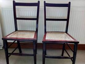 Cane seated light weight chairs x 2