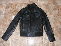 Womens black real leather biker jacket (S/M)