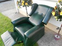 Queen Anne Wingback Orthopedic Leather Recliner Chair