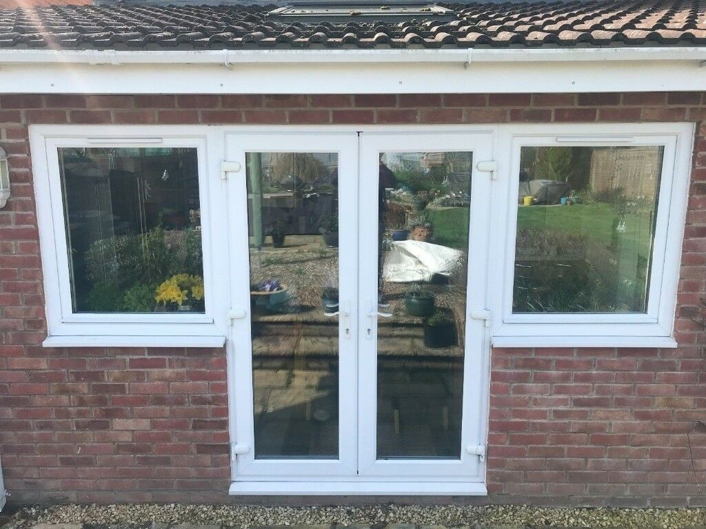 White Upvc French Patio Doors With Optional Side