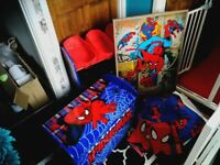 Kids spiderman bedroom storage curtains bedding covers toy storage and wall canvas