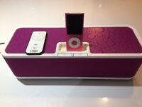 Hot pink Yamaha iPod and dock
