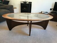 Vintage Mid Century 1960s G Plan Astro Oval Coffee Table In Teak With Glass Top