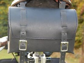New Bicycle Saddle Handlebar Bag Genuine Leather Vintage for Brooks / Brompton BLACK FREE SHIPPING