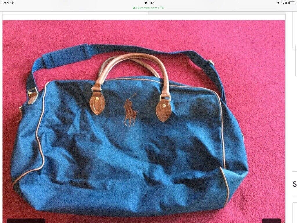 Five bags - sports hold-all, rucksack, Ralph Lauren bag etc