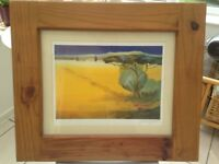 Large Picture known as Tuscany Blue in Solid wooden frame behind glass-signed Juliane John