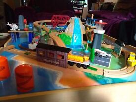 Kids brio train table and extras.