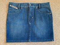 New without tags, Diesel Blue Denim Skirt with Reversible Sequin pocket, Size 28, never worn