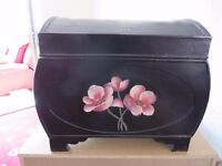small wooden storage trunk