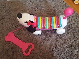 pink alphabet dog