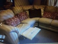 Free to collector - cream corner leather sofa with recliner