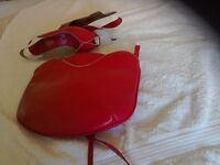 Ladies Jacques Vert deep pink leather handbag and matching shoes size 5.5