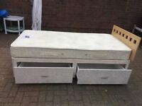 Top quality single divan bed with 2 drawers and mattress