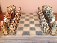 Limited Edition History of Golf Hand Decorated Ground Stone Chess Set & Board in unused condition:-