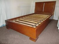 LARGE SINGLE SOLID WOODEN BED FRAME