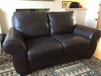 Italian hand made Real Leather Brown 2 Seater Sofa Immaculate Condition, As New