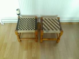 Two woven top stools