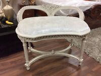 Rococo Solid Wood bench in Cream crushed velvet With Cream wood finish