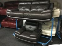 New/Ex Display ScS Genoa Leather 3 Seater Sofa + 1 Seater Sofa Chair