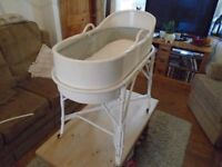 Vintage Lloyd loom style baby basket , baby crib and stand