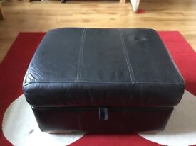 Black Leather Storage Footstool in good used condition