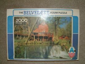 2000 piece Puzzle showing Aid Hodgson Water Mill and Water Fall, box a little marked
