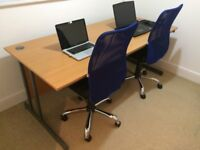Two Seater Desk + Two Swivel Chairs