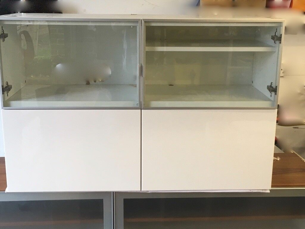 Ikea Besta Unit With 2 Gloss White Doors And 2 Glass Doors In