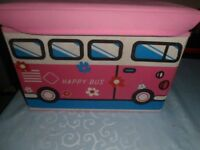 Happy Bus Foldable Toy/Play Box/Seat with Lid Pink Canvas Bus Design