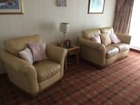 Leather Suite: 3 seater, 2 seater & armchair