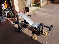 York B501 bench plus weights