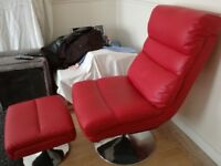 Red chair and footstool