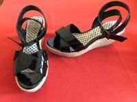 Black patent Wedge Sandals by Next