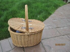 Cane basket with lids