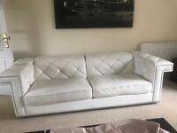Marinelli 3 piece leather Sofas with Swarovski cystals. 3, 2 and 1 seater.