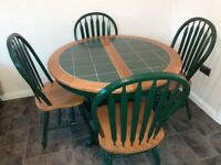 Oak and tile dining table and 4 chairs