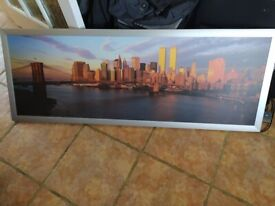 LARGE IKEA NEW YORK CITY SKYLINE TWIN TOWERS PANORAMIC PICTURE