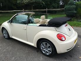 VW BEETLE CONVERTABLE-CREAM WITH CREAM LEATHER-ELECTRIC ROOF-2007 NEWER SHAPE