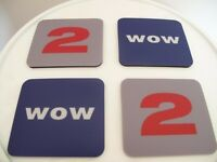 SET OF 4 VINTAGE GRAPHIC COASTERS BY HABITAT – NEVER USED!!