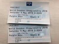 2 x World Snooker Championship VIP package, Semi-Final One, 5 May, 2.30pm